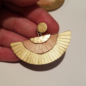 Madewell Gold & Light Pink Tassel Fan Earrings